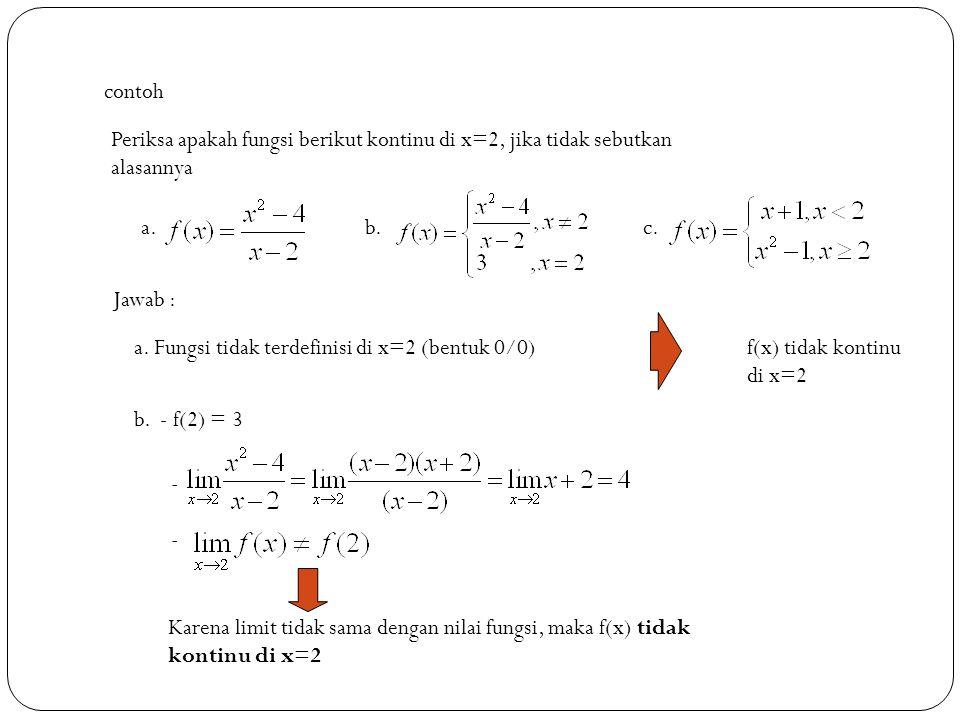 contoh Periksa apakah fungsi berikut kontinu di x=2, jika tidak sebutkan. alasannya. a. b. c. Jawab :