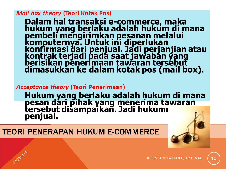 Teori penerapan hukum e-commerce