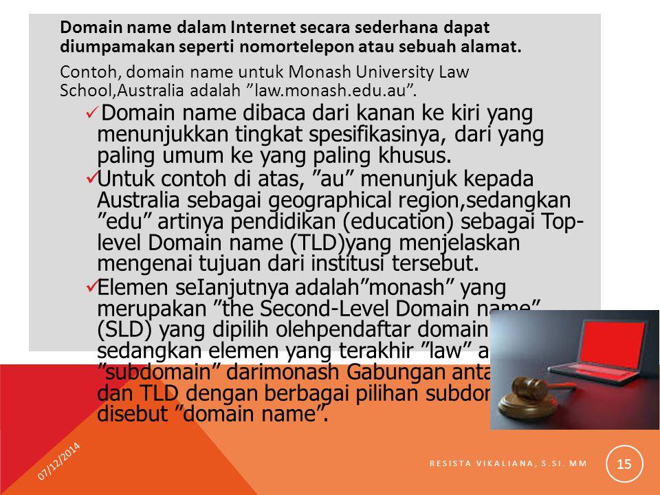 Domain name dalam Internet secara sederhana dapat diumpamakan seperti nomortelepon atau sebuah alamat.
