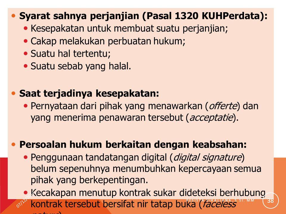 Syarat sahnya perjanjian (Pasal 1320 KUHPerdata):