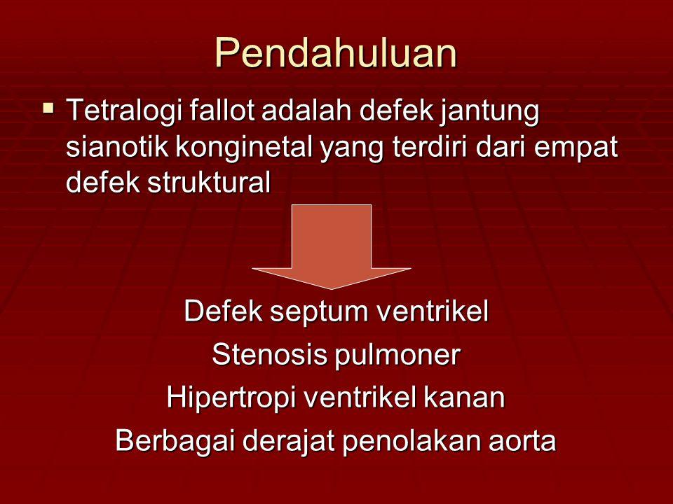 Pendahuluan Tetralogi fallot adalah defek jantung sianotik konginetal yang terdiri dari empat defek struktural.