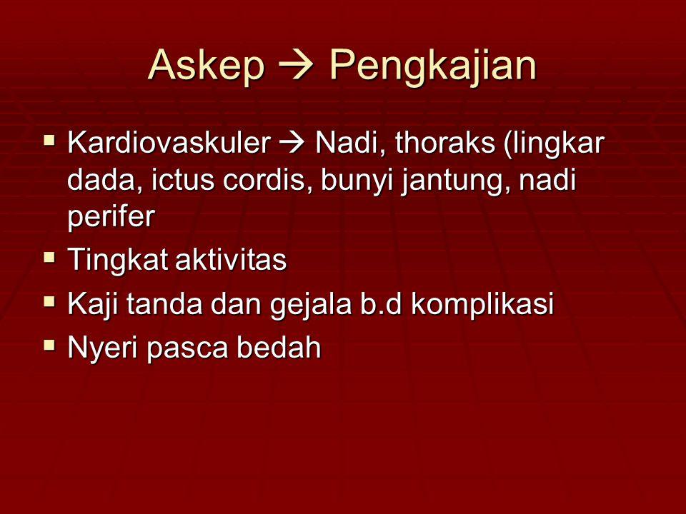 Askep  Pengkajian Kardiovaskuler  Nadi, thoraks (lingkar dada, ictus cordis, bunyi jantung, nadi perifer.