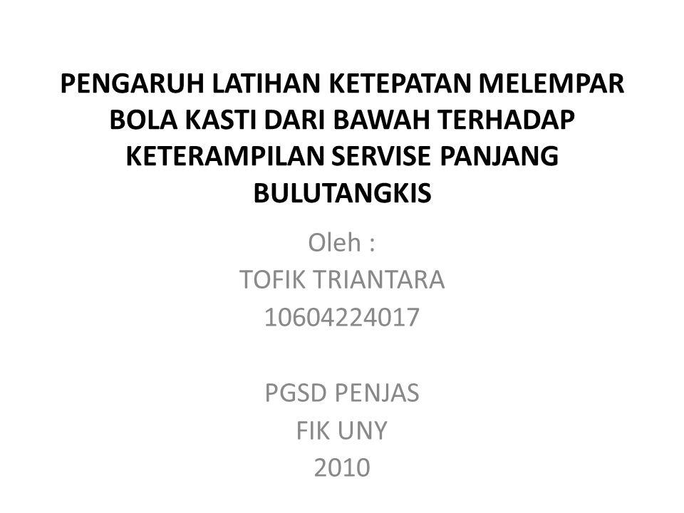 Oleh : TOFIK TRIANTARA 10604224017 PGSD PENJAS FIK UNY 2010