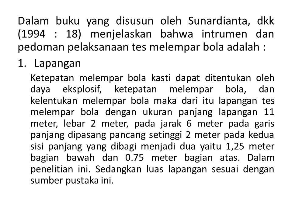Dalam buku yang disusun oleh Sunardianta, dkk (1994 : 18) menjelaskan bahwa intrumen dan pedoman pelaksanaan tes melempar bola adalah :
