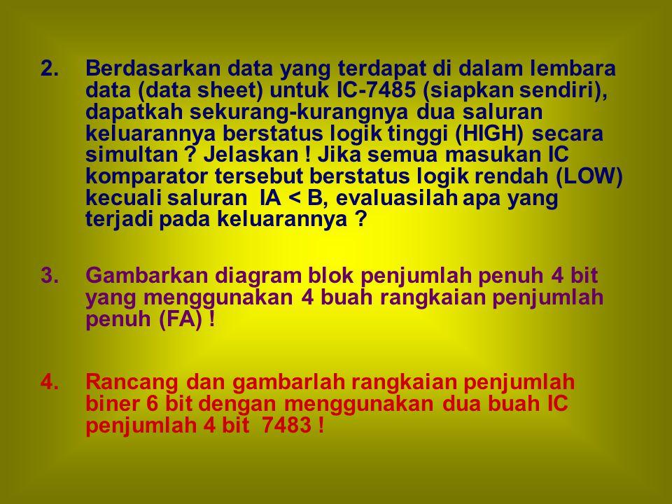 2. Berdasarkan data yang terdapat di dalam lembara data (data sheet) untuk IC-7485 (siapkan sendiri), dapatkah sekurang-kurangnya dua saluran keluarannya berstatus logik tinggi (HIGH) secara simultan Jelaskan ! Jika semua masukan IC komparator tersebut berstatus logik rendah (LOW) kecuali saluran IA < B, evaluasilah apa yang terjadi pada keluarannya
