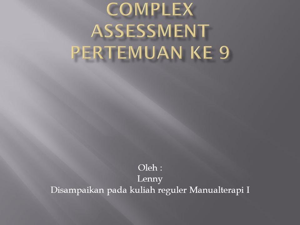 MANUAL TERAPI ELBOW COMPLEX Assessment Pertemuan ke 9