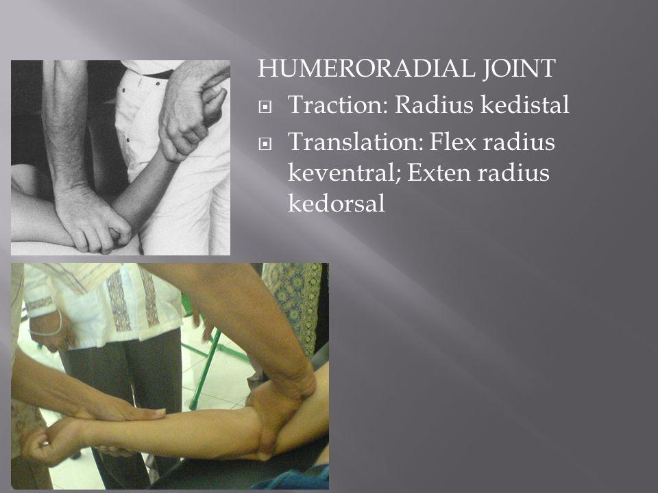 HUMERORADIAL JOINT Traction: Radius kedistal.