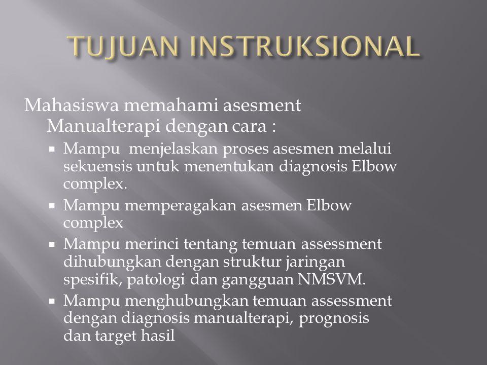 TUJUAN INSTRUKSIONAL Mahasiswa memahami asesment Manualterapi dengan cara :
