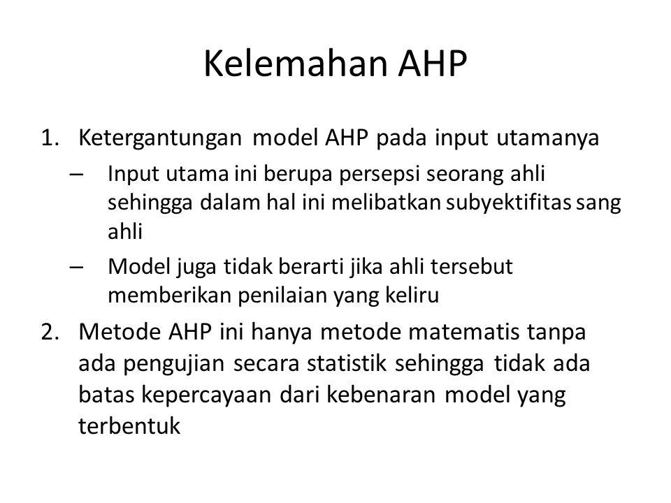 Kelemahan AHP Ketergantungan model AHP pada input utamanya