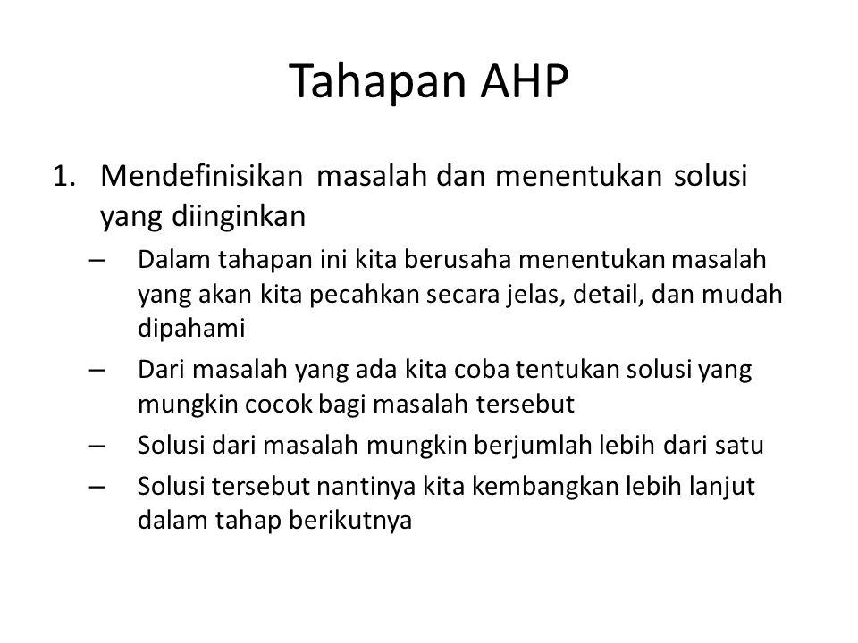 Tahapan AHP Mendefinisikan masalah dan menentukan solusi yang diinginkan.