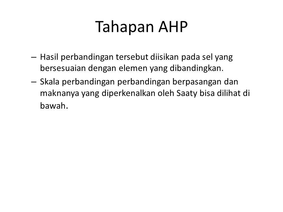 Tahapan AHP Hasil perbandingan tersebut diisikan pada sel yang bersesuaian dengan elemen yang dibandingkan.