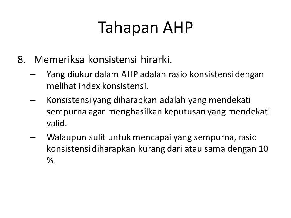Tahapan AHP Memeriksa konsistensi hirarki.