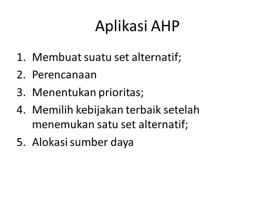 Aplikasi AHP Membuat suatu set alternatif; Perencanaan