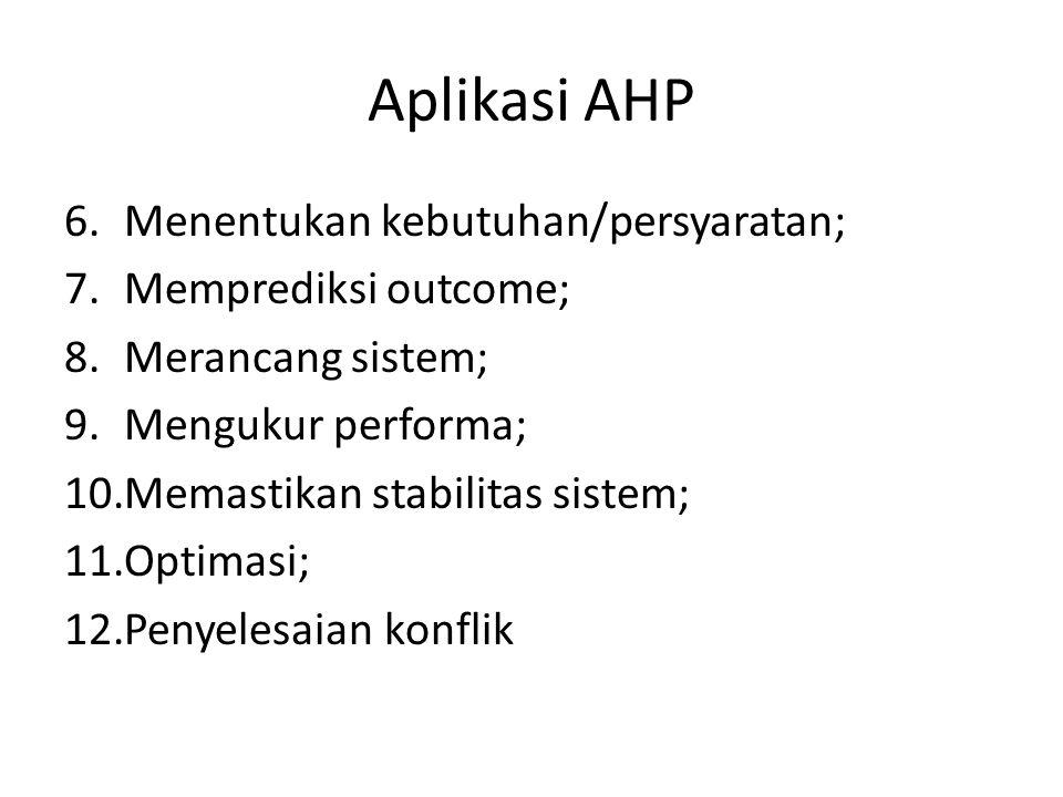 Aplikasi AHP Menentukan kebutuhan/persyaratan; Memprediksi outcome;