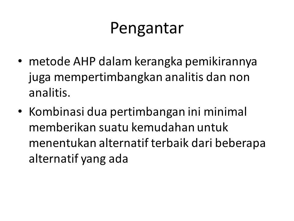 Pengantar metode AHP dalam kerangka pemikirannya juga mempertimbangkan analitis dan non analitis.