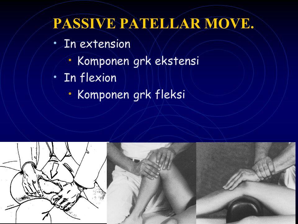 PASSIVE PATELLAR MOVE. In extension Komponen grk ekstensi In flexion