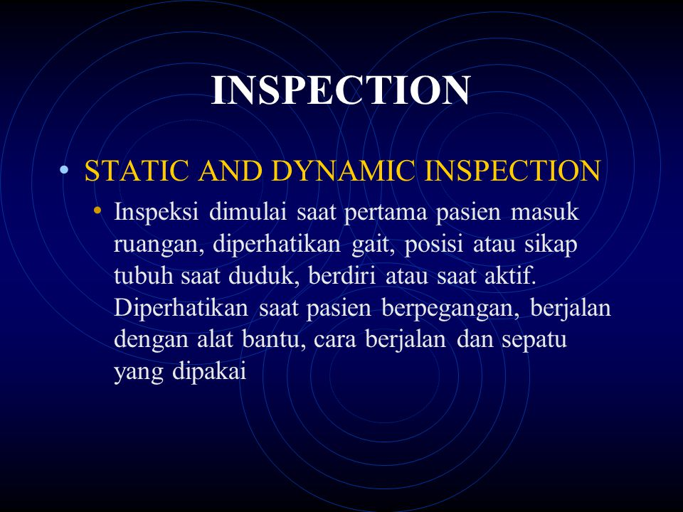 INSPECTION STATIC AND DYNAMIC INSPECTION