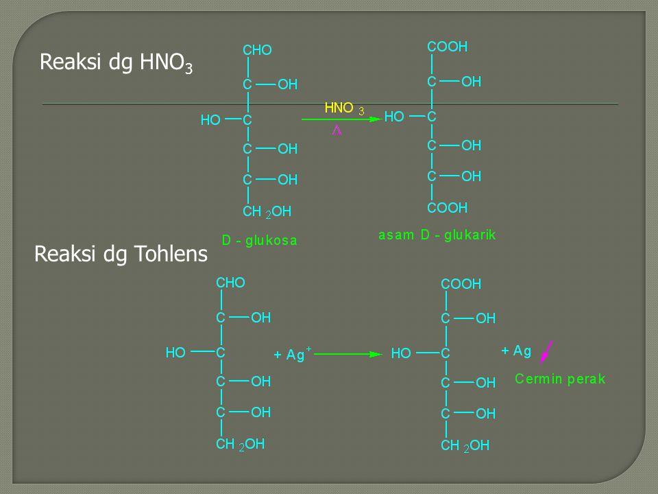 Reaksi dg HNO3 Reaksi dg Tohlens