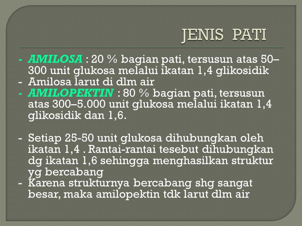 JENIS PATI - AMILOSA : 20 % bagian pati, tersusun atas 50–300 unit glukosa melalui ikatan 1,4 glikosidik.