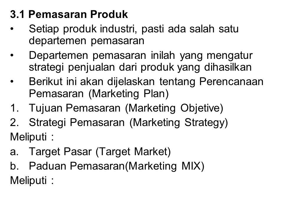 3.1 Pemasaran Produk Setiap produk industri, pasti ada salah satu departemen pemasaran.