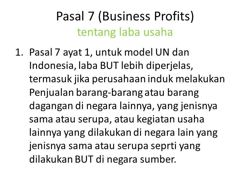 Pasal 7 (Business Profits) tentang laba usaha