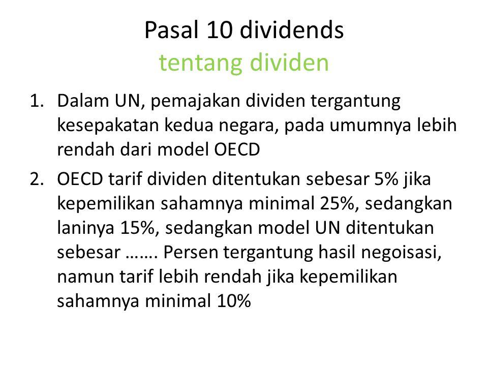 Pasal 10 dividends tentang dividen