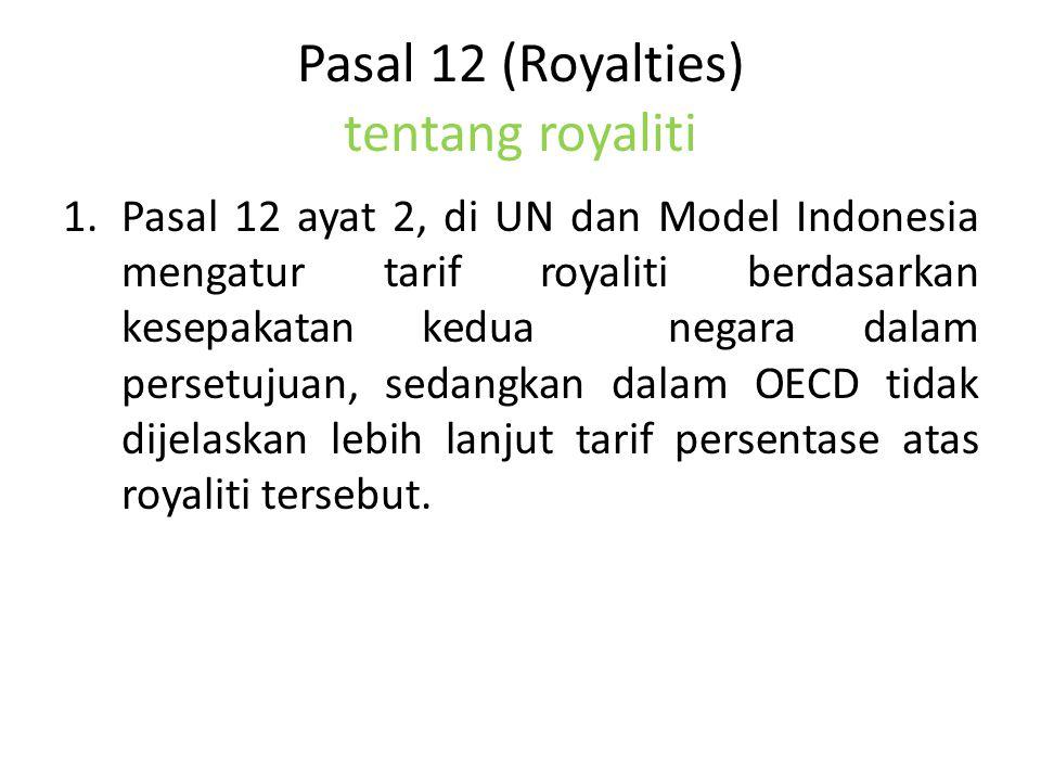 Pasal 12 (Royalties) tentang royaliti