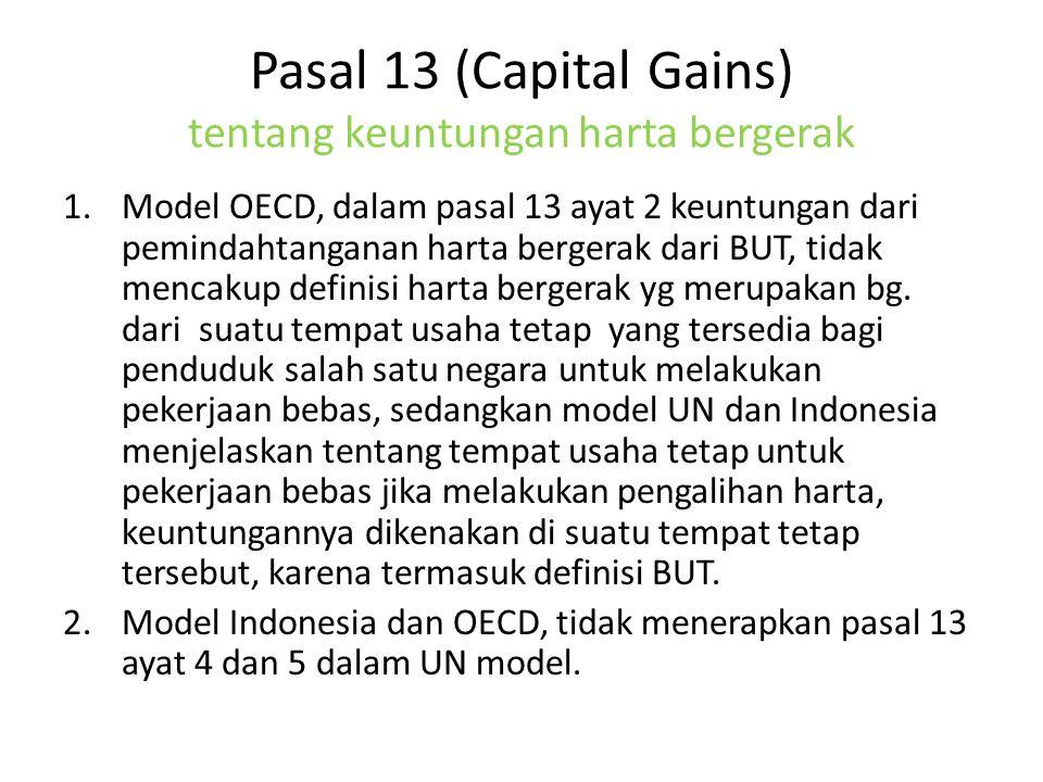Pasal 13 (Capital Gains) tentang keuntungan harta bergerak