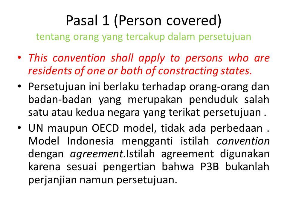 Pasal 1 (Person covered) tentang orang yang tercakup dalam persetujuan