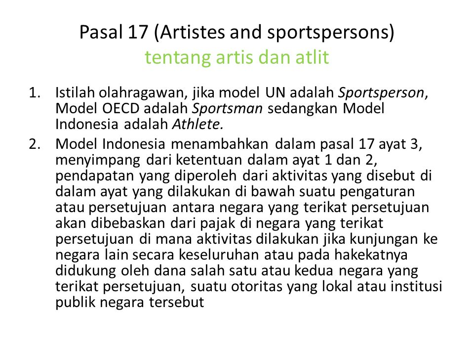 Pasal 17 (Artistes and sportspersons) tentang artis dan atlit