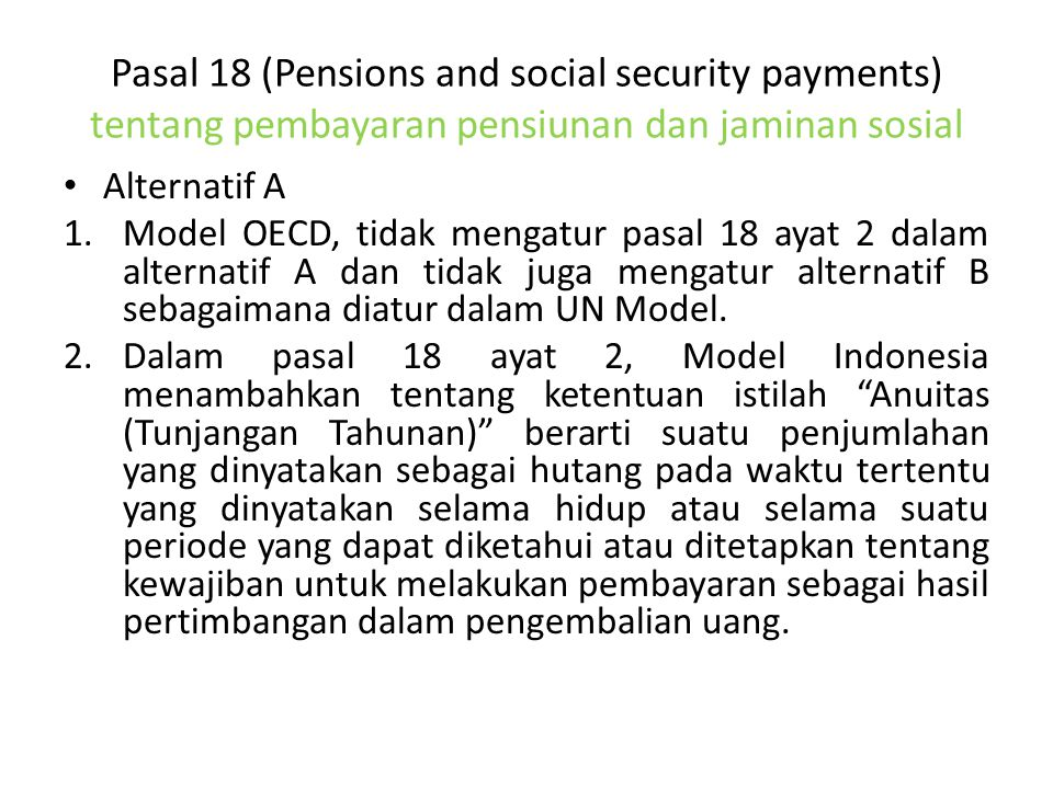 Pasal 18 (Pensions and social security payments) tentang pembayaran pensiunan dan jaminan sosial