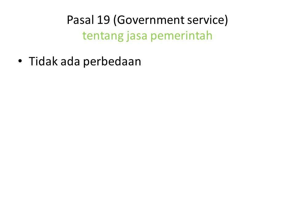 Pasal 19 (Government service) tentang jasa pemerintah