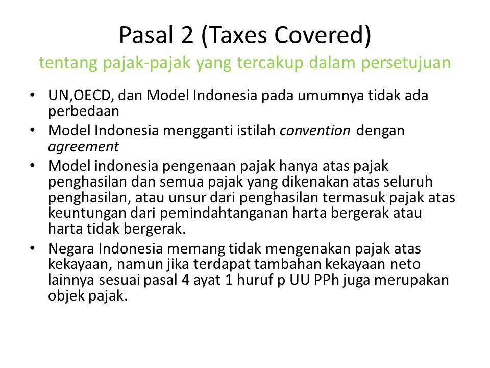 Pasal 2 (Taxes Covered) tentang pajak-pajak yang tercakup dalam persetujuan