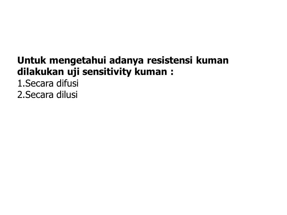 Untuk mengetahui adanya resistensi kuman dilakukan uji sensitivity kuman :