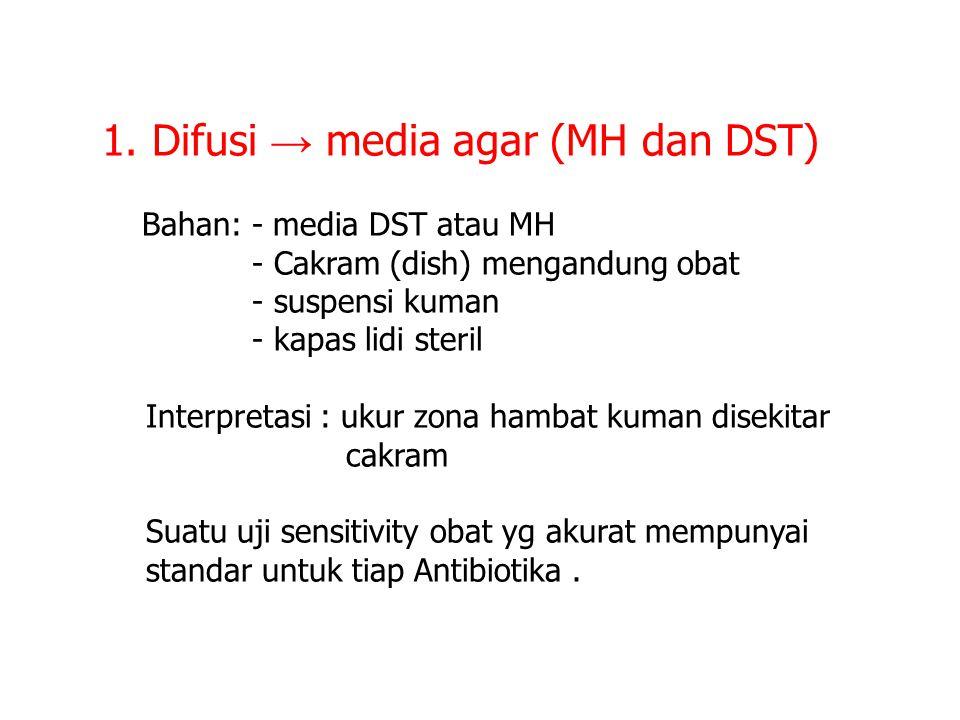 1. Difusi → media agar (MH dan DST)