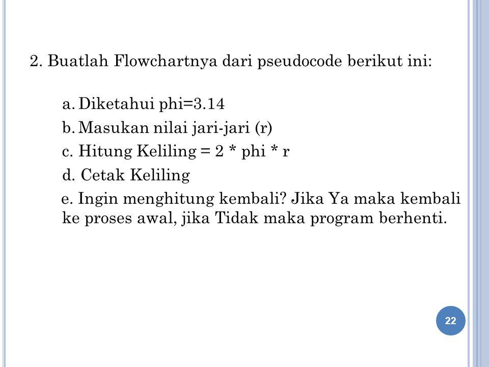 2. Buatlah Flowchartnya dari pseudocode berikut ini: a.