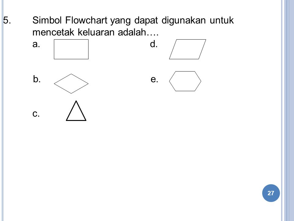 5. Simbol Flowchart yang dapat digunakan untuk