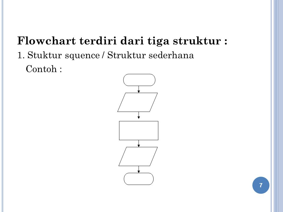 Flowchart terdiri dari tiga struktur :