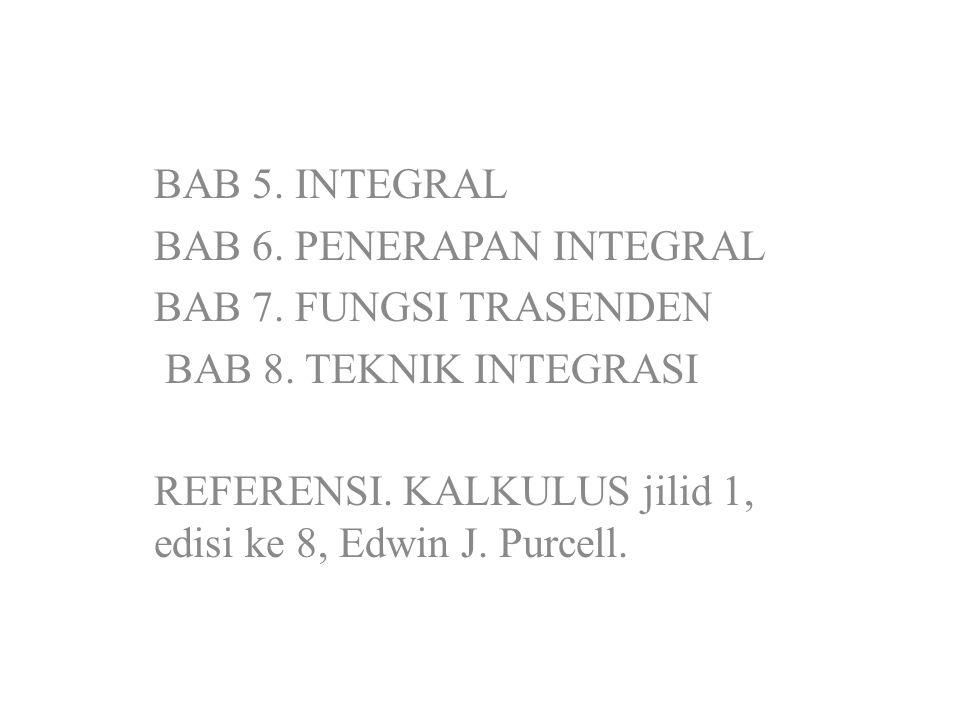 BAB 5. INTEGRAL BAB 6. PENERAPAN INTEGRAL. BAB 7. FUNGSI TRASENDEN. BAB 8. TEKNIK INTEGRASI.