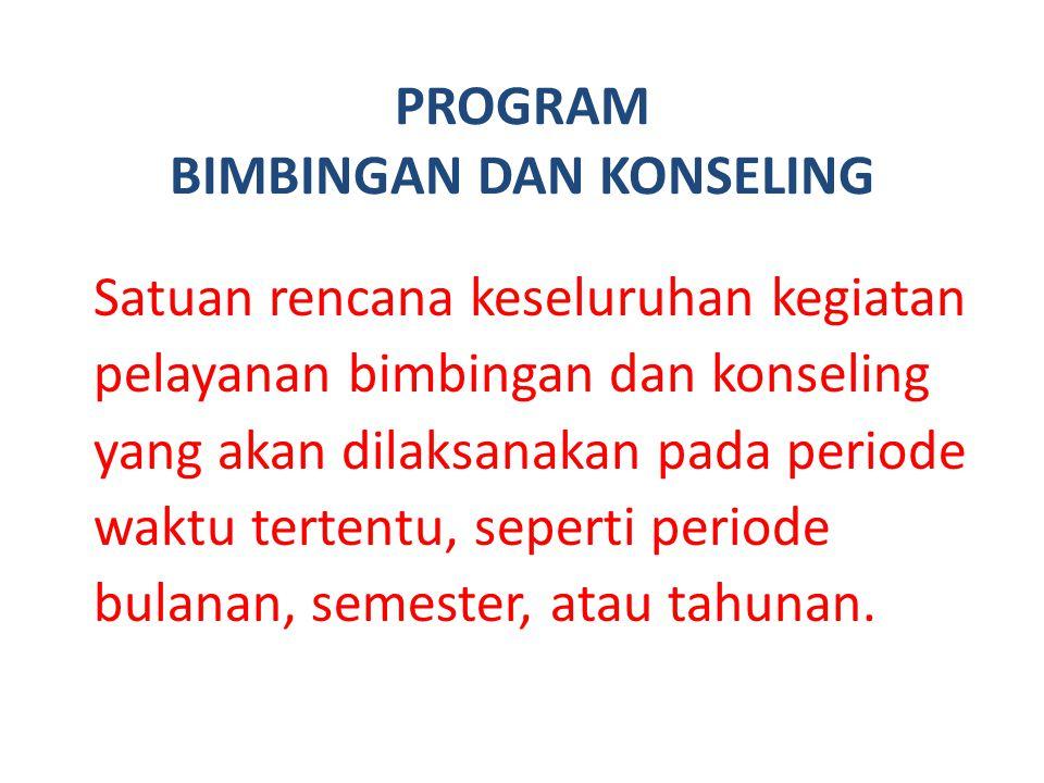 PROGRAM BIMBINGAN DAN KONSELING