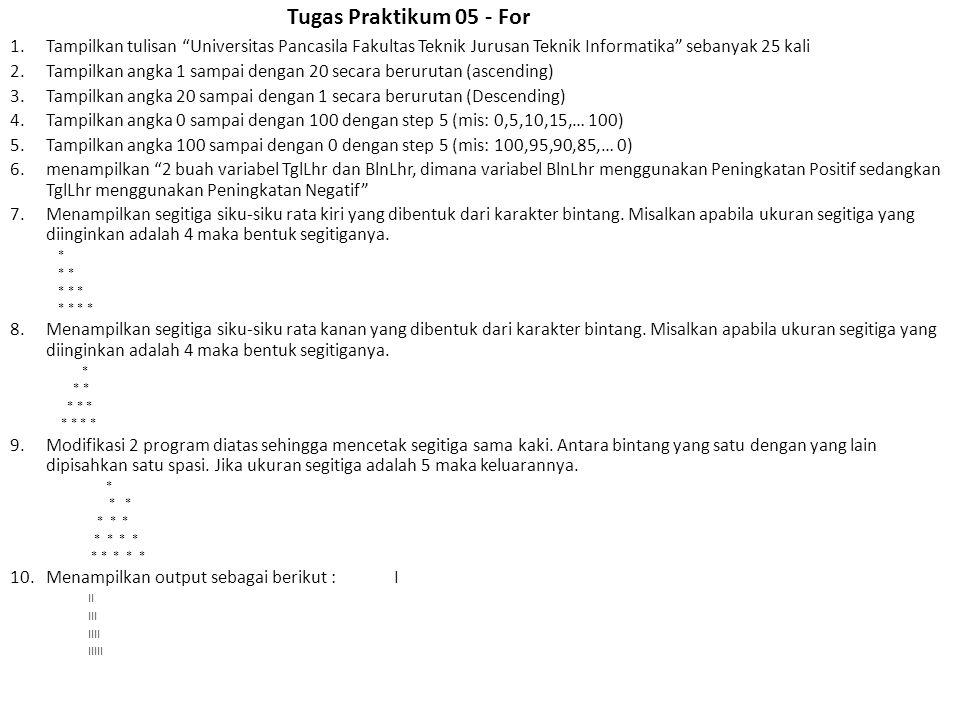 Tugas Praktikum 05 - For Tampilkan tulisan Universitas Pancasila Fakultas Teknik Jurusan Teknik Informatika sebanyak 25 kali.