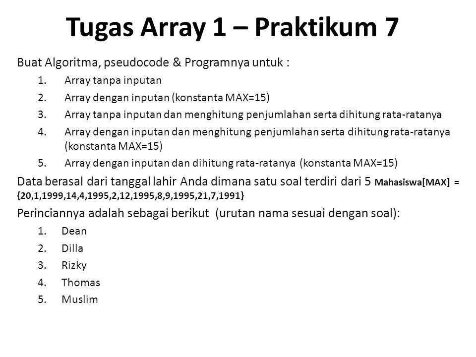 Tugas Array 1 – Praktikum 7