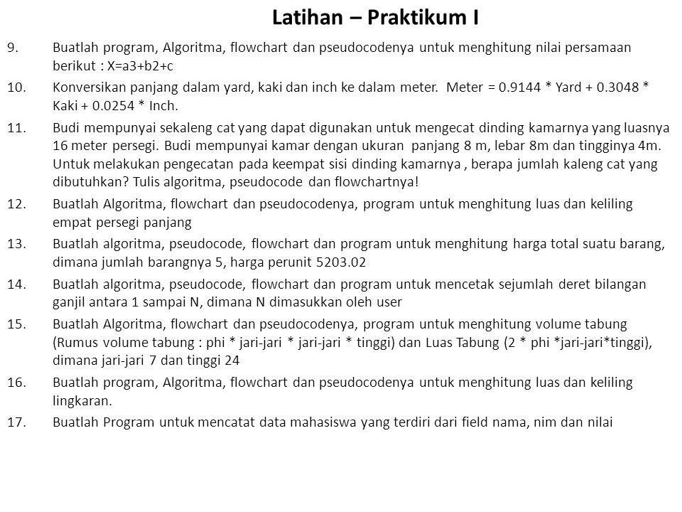 Latihan – Praktikum I Buatlah program, Algoritma, flowchart dan pseudocodenya untuk menghitung nilai persamaan berikut : X=a3+b2+c.