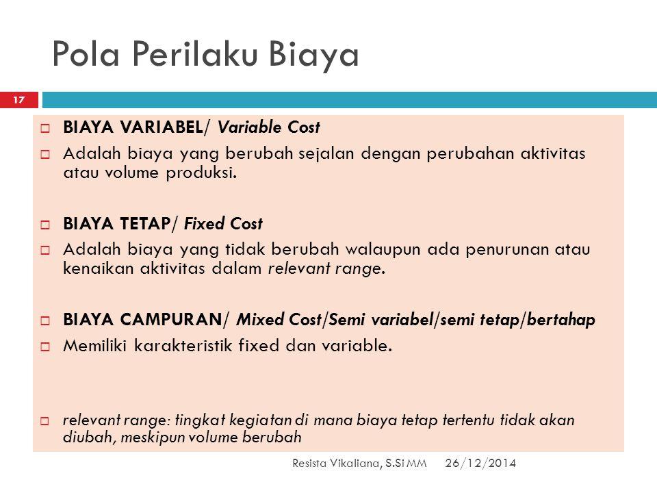 Pola Perilaku Biaya BIAYA VARIABEL/ Variable Cost