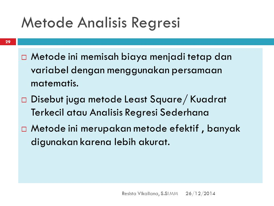 Metode Analisis Regresi