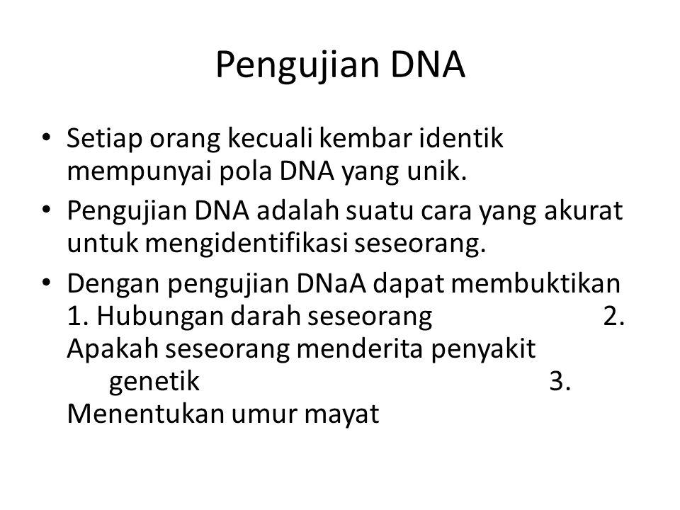 Pengujian DNA Setiap orang kecuali kembar identik mempunyai pola DNA yang unik.
