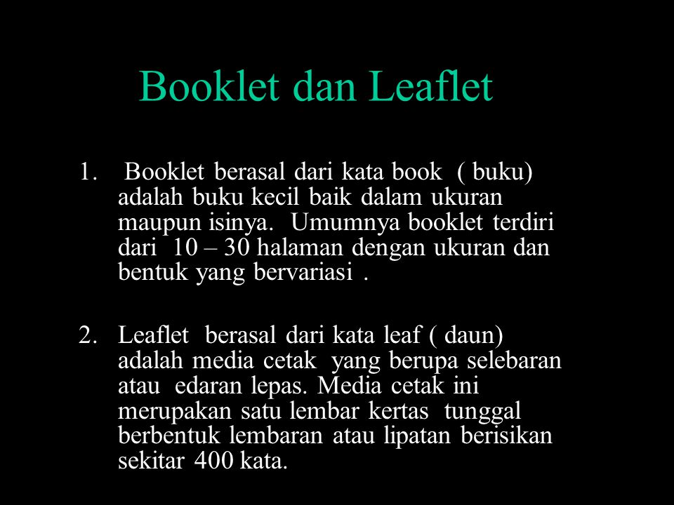 Booklet dan Leaflet