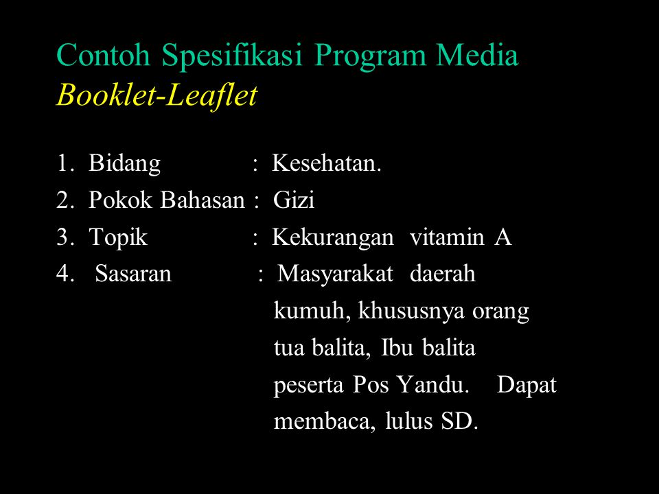 Contoh Spesifikasi Program Media Booklet-Leaflet