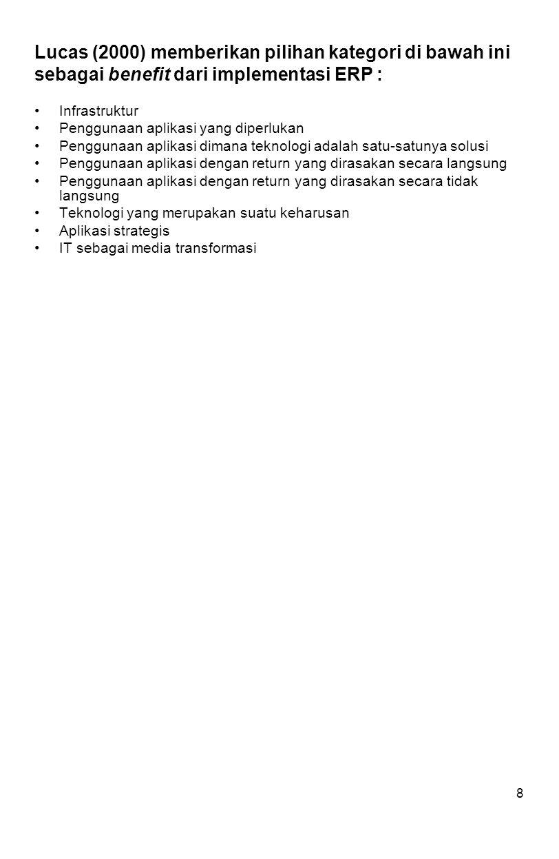 Lucas (2000) memberikan pilihan kategori di bawah ini sebagai benefit dari implementasi ERP :