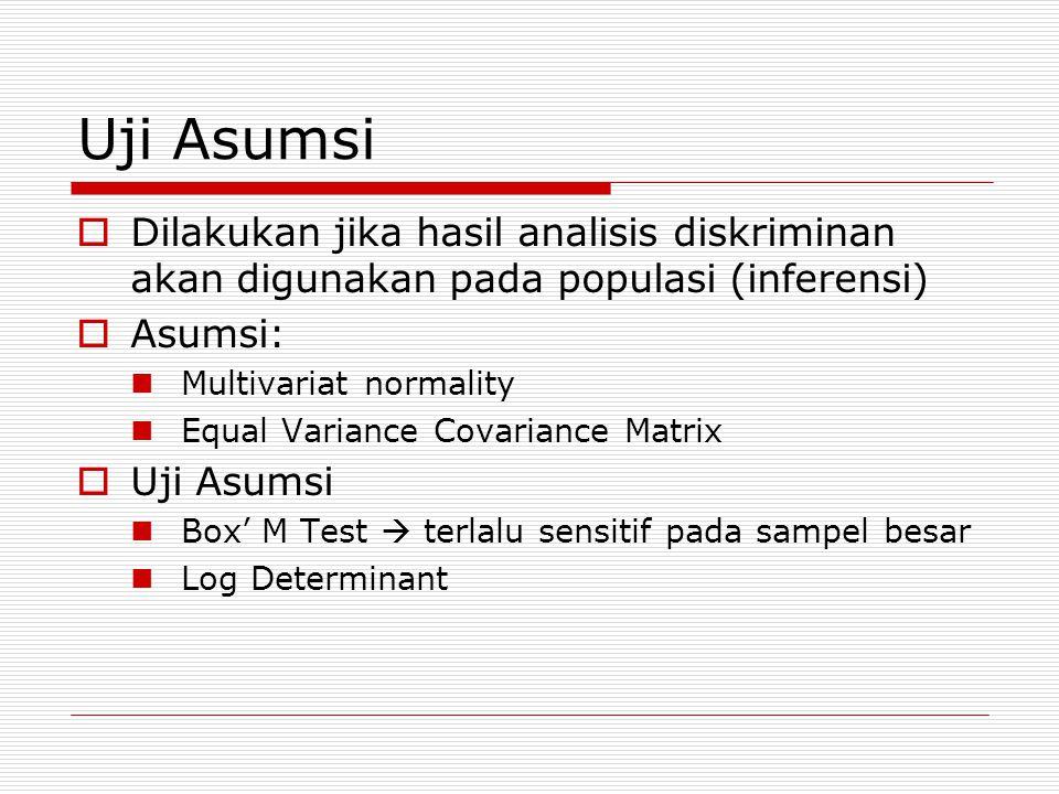 Uji Asumsi Dilakukan jika hasil analisis diskriminan akan digunakan pada populasi (inferensi) Asumsi: